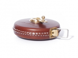 Brown Leather Tape Measure with Brass Winder 33ft/