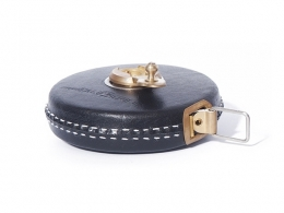Black Leather Tape Measure with Brass Winder 33ft/